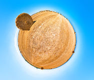 Hay field. 360 Stereographic projection. Stock Photo