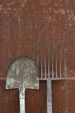 Hay-fork and blade. Old rusty tools Royalty Free Stock Images