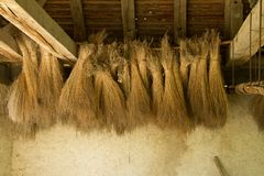 Hay hanging from sealing in The ecomusee in Alsace. The Écomusée d'Alsace is the largest living open-air museum in France and shows an Alsatian village from Stock Photos