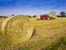 Hay harvesting machine. Tractor collecting hay bales in the fields Stock Photography