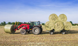 Hay harvesting machine. Tractor collecting hay bales in the fields Stock Photo