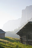 Hay hut in Dolomites Stock Images
