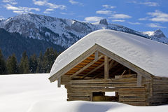 hay hut in winter Stock Image