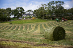 Hay, Ireland, landscape, path, stalk, tractor, house, village, farm, paths stock photo