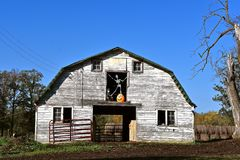 Halloween skeleton in hay loft door of a barn. The hay loft door opening of an old abandoned barn has been converted into a Halloween scene with a skeleton Stock Photo