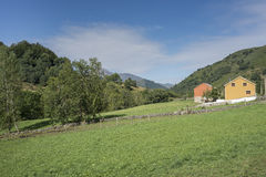 Hay meadows in Valle del Lago. One of fifteen parishes in Somiedo, a municipality located in the central area of the Cantabrian Mountains, Principality of Stock Photography