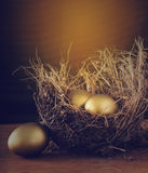A Hay Nest with 3 golden Eggs. Royalty Free Stock Photos