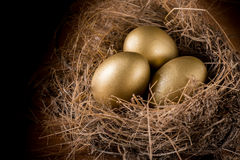 A Hay Nest with 3 golden Eggs. Royalty Free Stock Photo