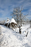 Hay On Snowy Household Stock Photo