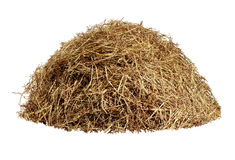 Hay Pile. Isolated on a white background as an agriculture farm and farming symbol of harvest time with dried grass straw as a mountain of dried grass haystack Royalty Free Stock Image