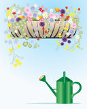 Hay rack. An illustration of a hay rack filled with summer flowers with a green plastic watering can Royalty Free Stock Photography
