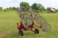 Hay Rake in Field Stock Image