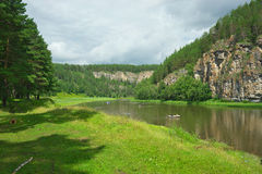 Hay River. Russia, South Ural. Tourist bath on the banks of the river. Chelyabinsk region, Bashkiria Stock Photography