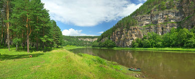 Hay River. Russia, South Ural. Tourist bath on the banks of the river. Chelyabinsk region, Bashkiria Stock Photo