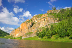 Hay River. Russia, South Ural. Tourist bath on the banks of the river. Chelyabinsk region, Bashkiria Stock Images