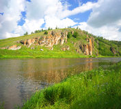 Hay River. Russia, South Ural. Tourist bath on the banks of the river. Chelyabinsk region, Bashkiria Stock Photos