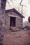 Hay Rock on the Appalachian Trail. Blood Mountain, GA – April 8th: Blood Mountain stone shelter on the Appalachian Trail located on top of Blood Mountain Stock Image