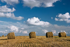 Hay roll and clouds Stock Photos