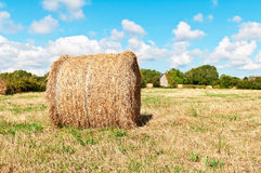 Hay roll on meadow with blue sky Stock Images
