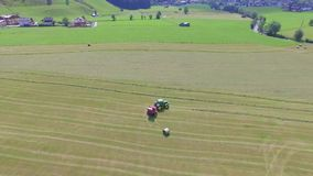 Hay Rolls In A Cropped Wheat Field., aerial view stock video footage