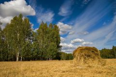 Hay stack. Landscape with the stack of hay and deep blue cloudy sky stock images