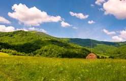 Hay stack on the grassy meadow in mountain. Beautiful countryside landscape under the blue sky with some clouds in summertime stock photo