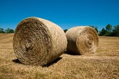 Hay Stacks In Autumn Field Royalty Free Stock Images