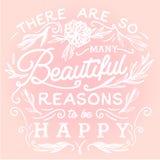 Hay tan muchas razones hermosas para ser feliz Fotografía de archivo libre de regalías