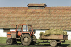 Hay in trailer Stock Photo