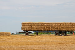 Hay trailer in field with blue sky Royalty Free Stock Images