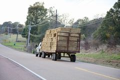 Hay Truck on a Country Highway Royalty Free Stock Photos