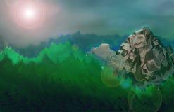 Hay un paisaje del beautifyl con una montaña imagen de archivo libre de regalías