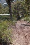 Hay una pista a través del arbusto Foto de archivo