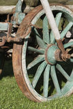 Hay wagon detail. Detailed view - hay wagon standing on green meadow Stock Photo