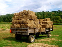 Hay Wagon with a full load. Of hay sits where it was left in the field Stock Photography