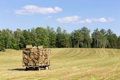 Hay Wagon i ett lantgårdfält Royaltyfria Foton