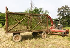 Hay wagon with tractor Royalty Free Stock Photo