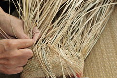 Hay weaving ( Taiwan traditional handicraft ). Royalty Free Stock Photography