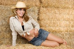 Hay Woman Royalty Free Stock Photography