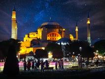 Haya Sofia Mosque på natten Arkivbilder