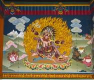 Hayagriva, wrathful forma Avalokitesvara, ścienny obraz Trashi Chhoe Dzong, Thimphu, Bhutan obraz stock