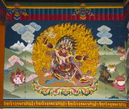 Hayagriva, zornige Form von Avalokitesvara, Wandbild von Trashi Chhoe Dzong, Thimphu, Bhutan stockbild