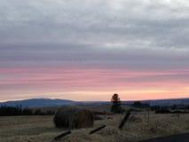 Haybale auf einem Sonnenuntergang Lizenzfreies Stockfoto