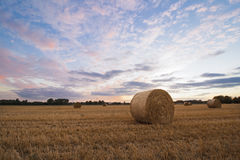 A haybale after the harvest at dusk time Stock Photo