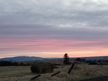 Haybale sur un coucher du soleil Photo libre de droits