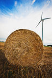 Haybale with Wind Turbine Stock Photos