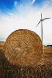 Haybale with Wind Turbine Stock Photos