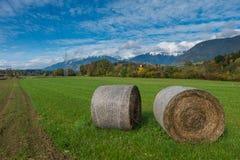Haybales в поле в осени Стоковые Изображения