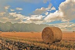 Haybales в редкой ливневой погоде стоковое изображение