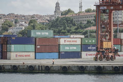 Haydarpasa Cargo Port that is full of containers in Istanbul, Turkey. Stock Images